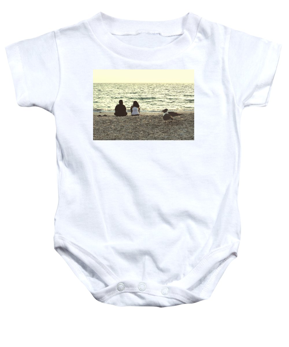 Baby Onesie featuring the photograph Lovebirds by Peg Urban
