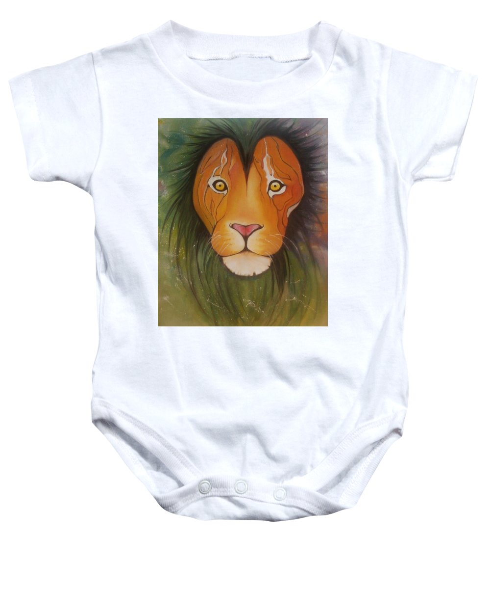 #lion #oilpainting #animal #colorful Baby Onesie featuring the painting Lovelylion by Anne Sue