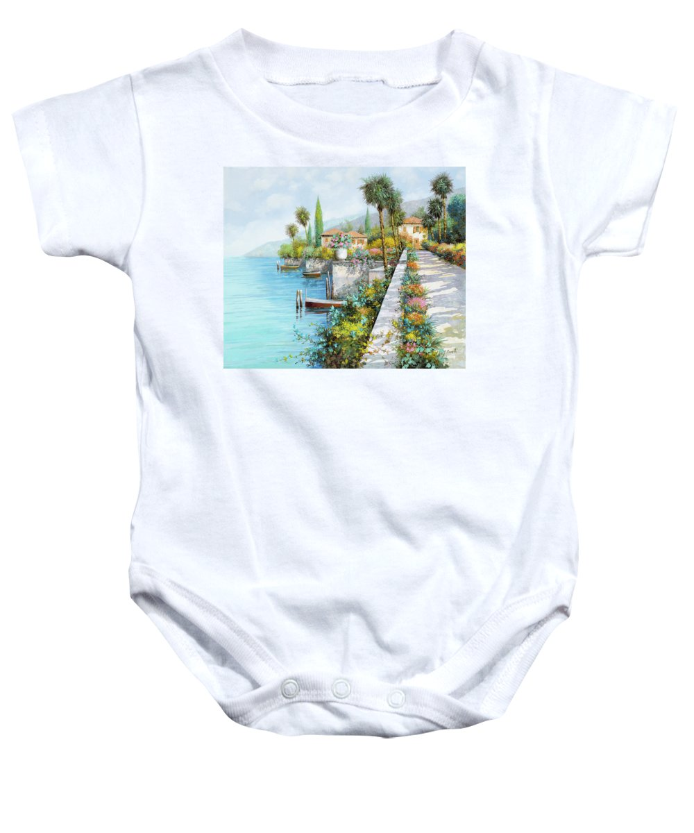 Lake Baby Onesie featuring the painting Lungolago by Guido Borelli