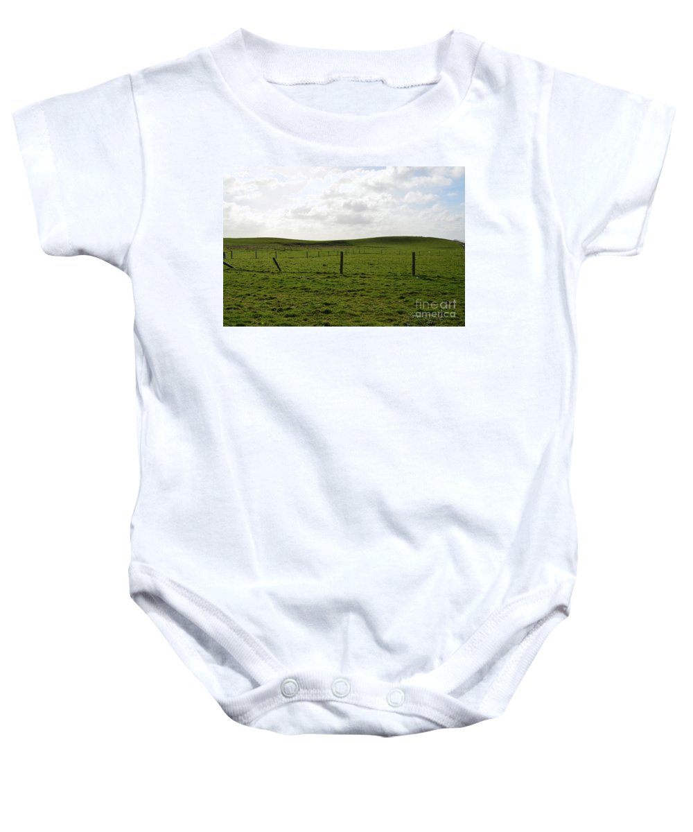 Cliffs-of-moher Baby Onesie featuring the photograph Lush Green Grass On The Cliffs Of Moher by DejaVu Designs