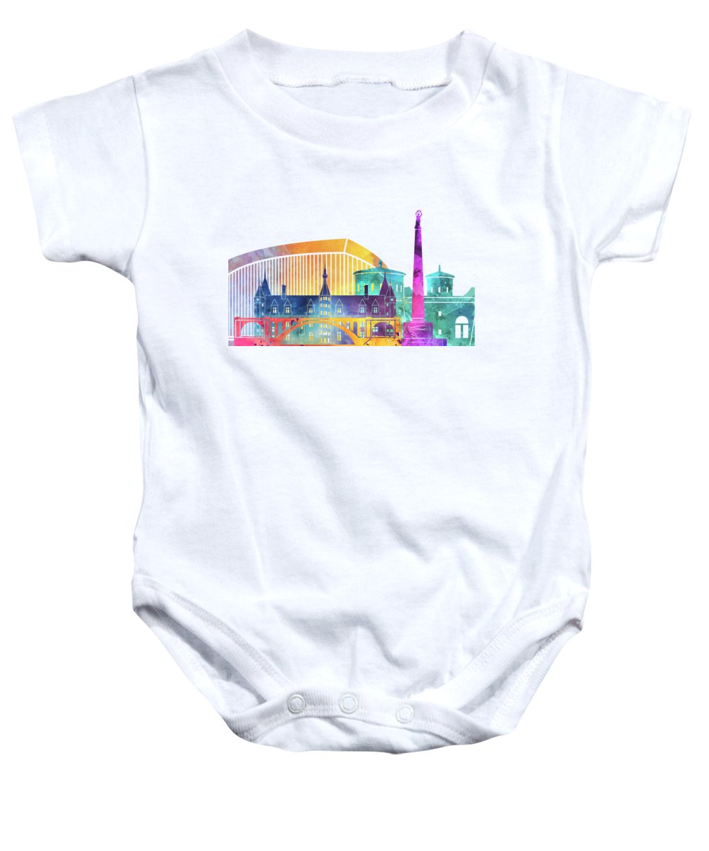 Europe Baby Onesie featuring the painting Luxembourg Landmarks Watercolor Poster by Pablo Romero