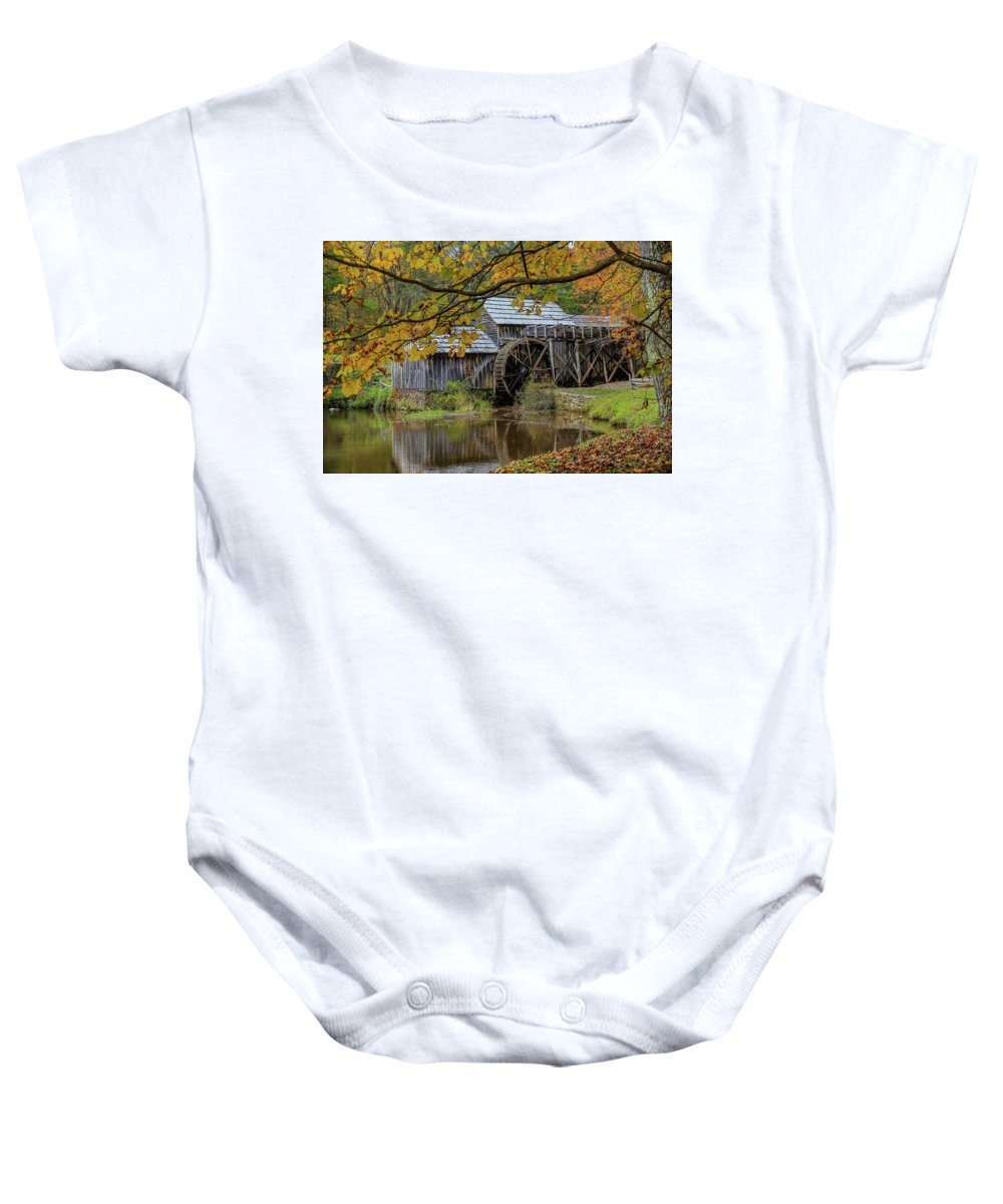 Fall Baby Onesie featuring the photograph Mabry Mill In Fall 3 by Kevin Craft