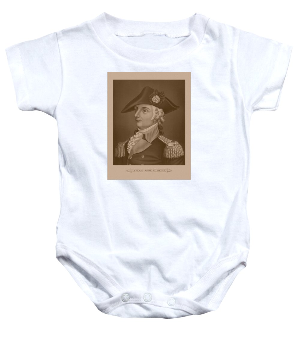 Revolutionary War Baby Onesie featuring the mixed media Mad Anthony Wayne by War Is Hell Store