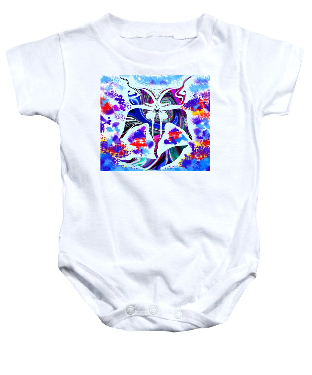 Abstract Baby Onesie featuring the digital art Mad Magical Garden. by Abstract Angel Artist Stephen K