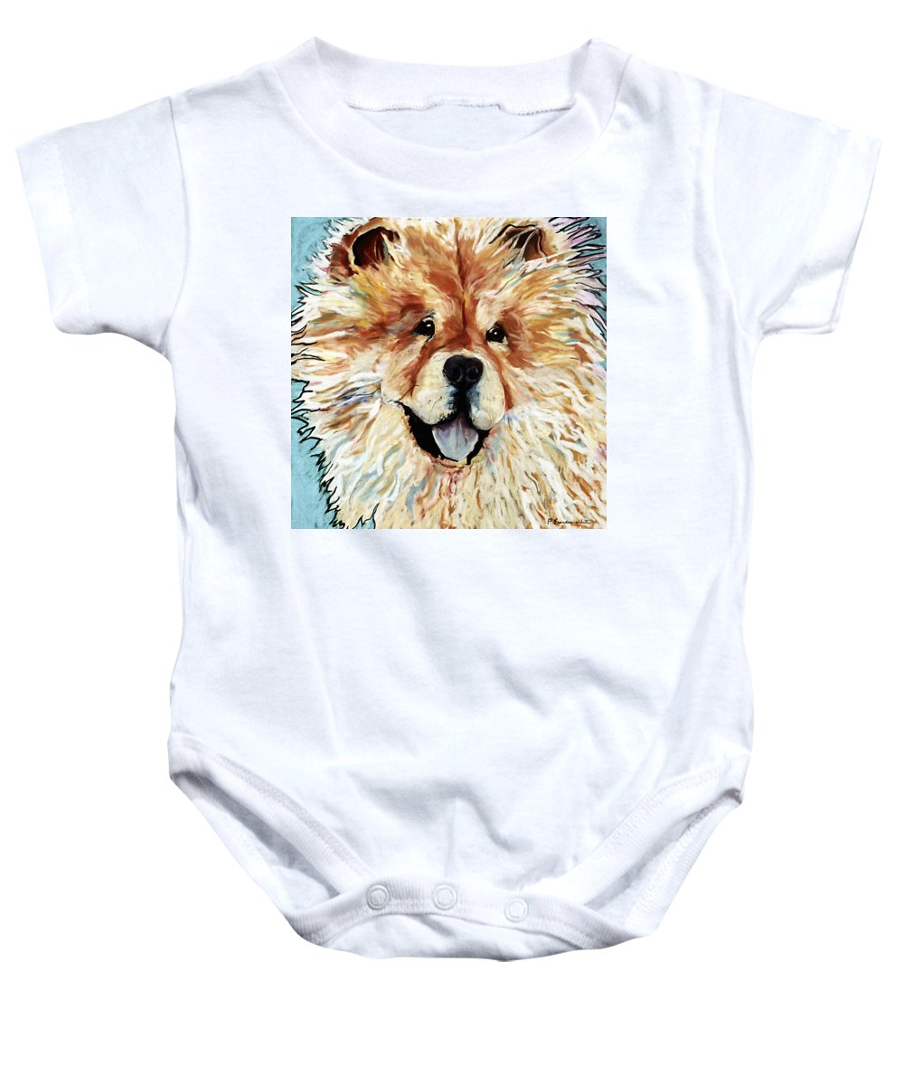 Chow Chow Baby Onesie featuring the pastel Madame Chu Cho by Pat Saunders-White