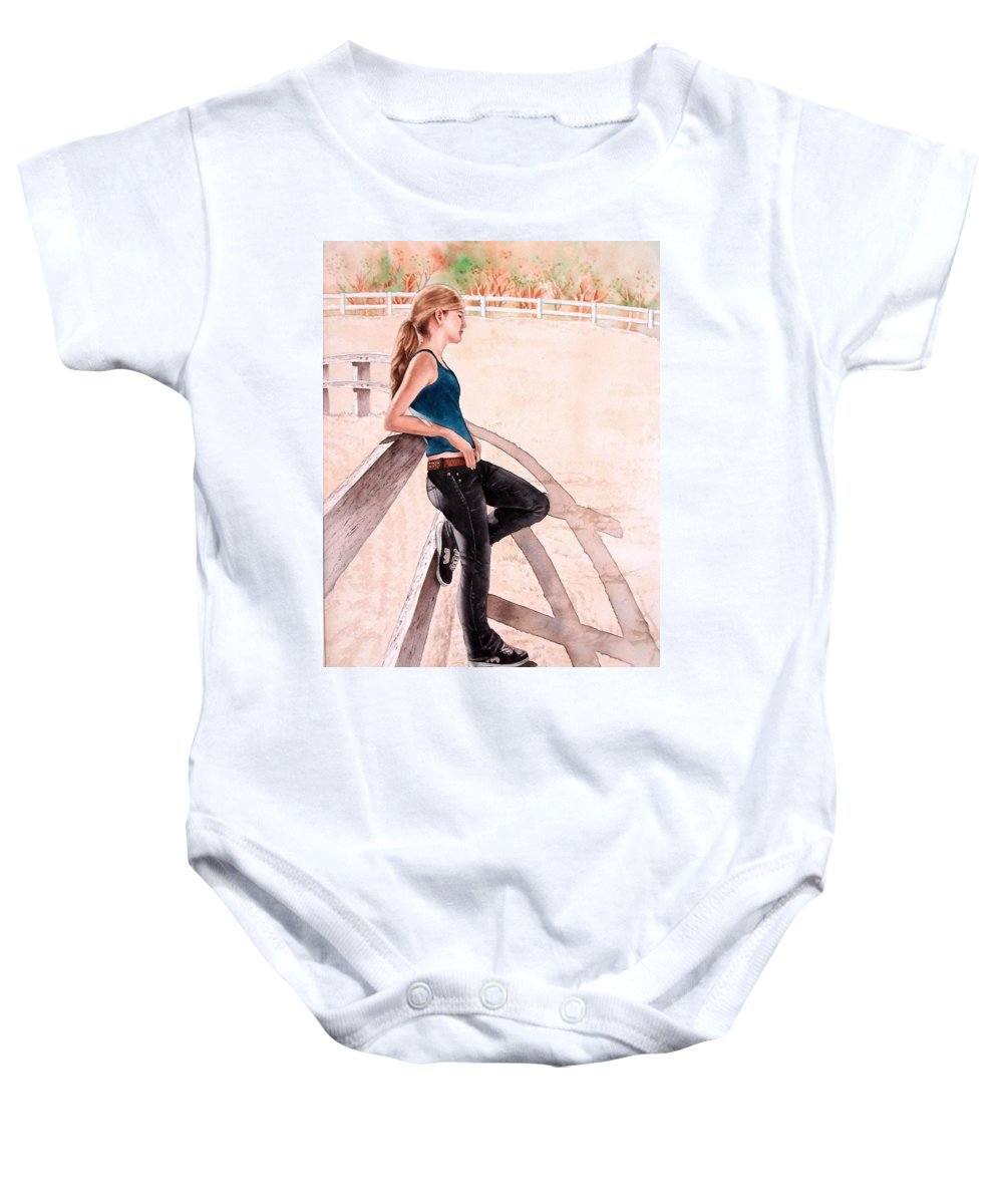 Young Girl Baby Onesie featuring the painting Madison by Sonya Catania