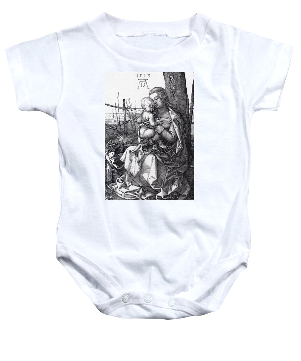 Madonna Baby Onesie featuring the painting Madonna By The Tree 1513 by Durer Albrecht