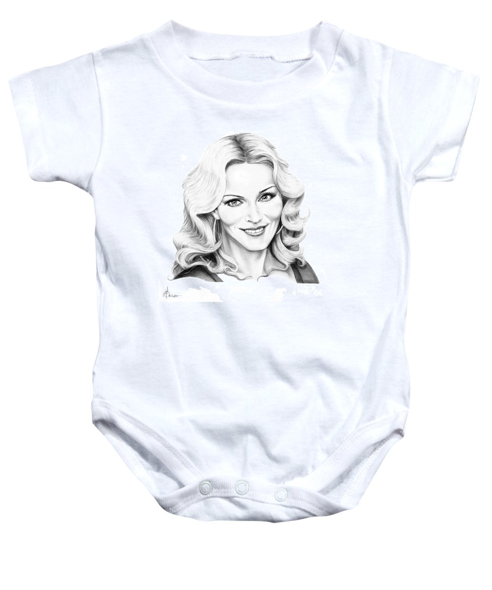Drawing Baby Onesie featuring the drawing Madonna by Murphy Elliott