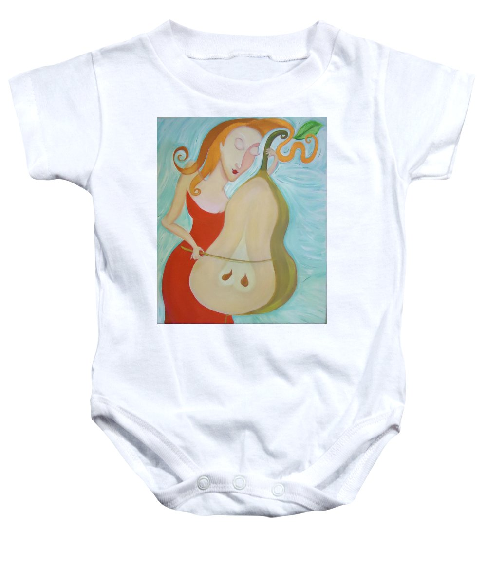 Pear Baby Onesie featuring the painting Magic Music Of Cello-pear - I Love Pears by Gregory Milgram
