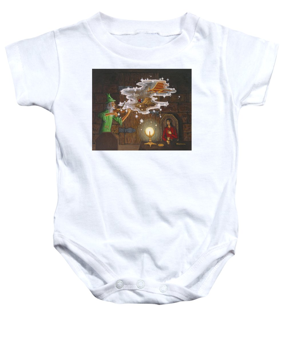 Fantasy Baby Onesie featuring the painting Magic Violin by Roz Eve
