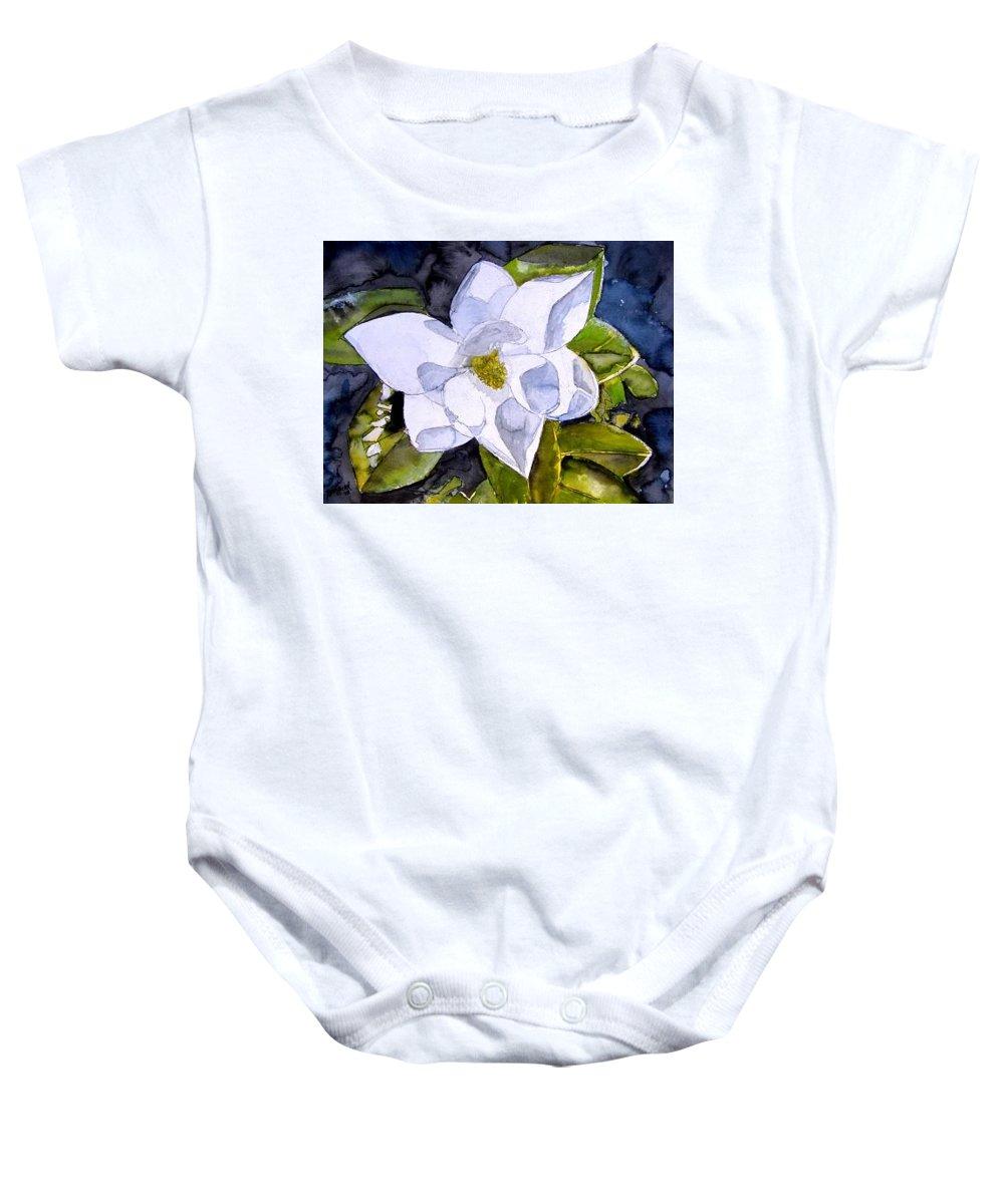 Magnolia Baby Onesie featuring the painting Magnolia 2 Flower Art by Derek Mccrea