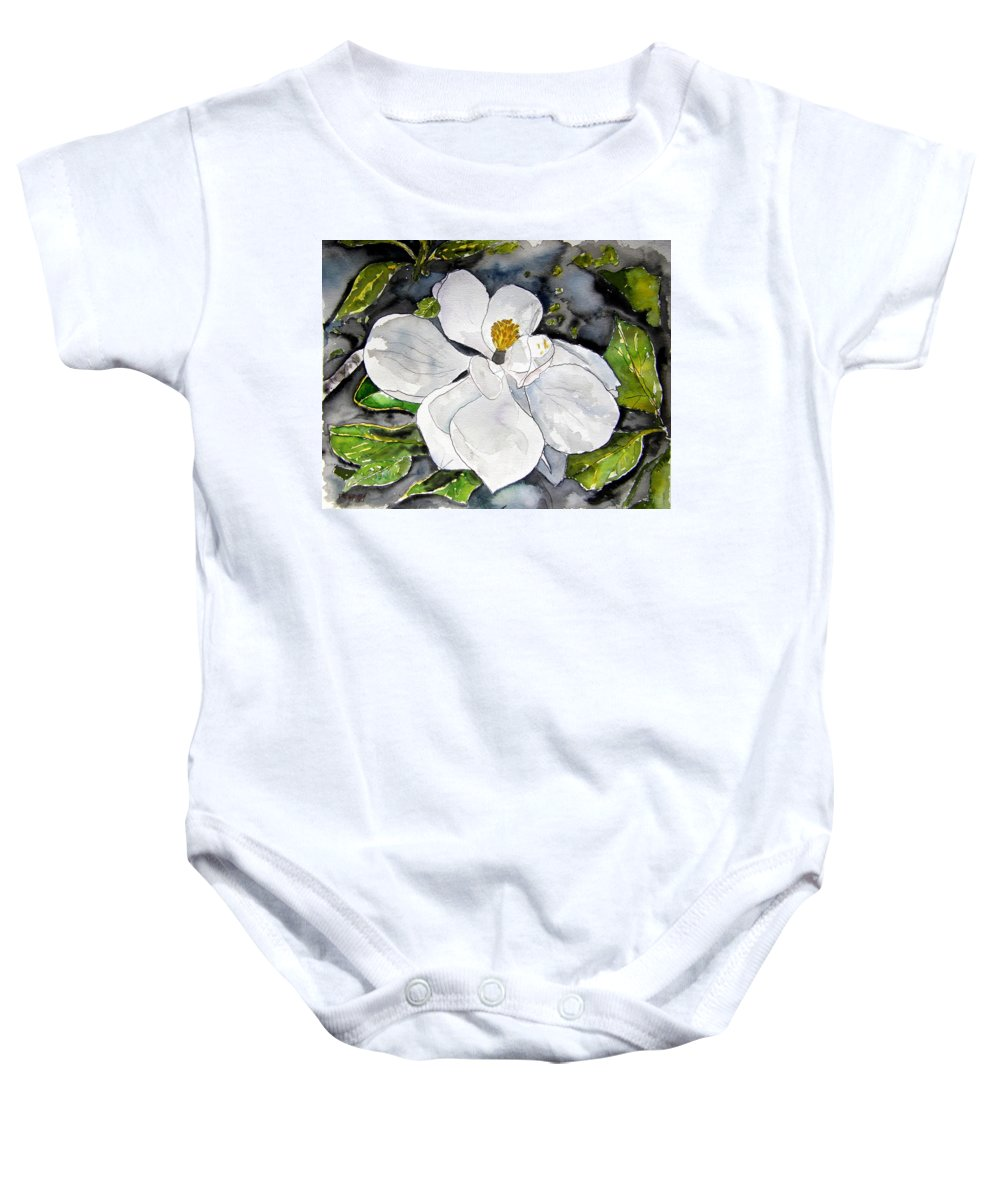 Magnolia Baby Onesie featuring the painting Magnolia Tree Flower by Derek Mccrea