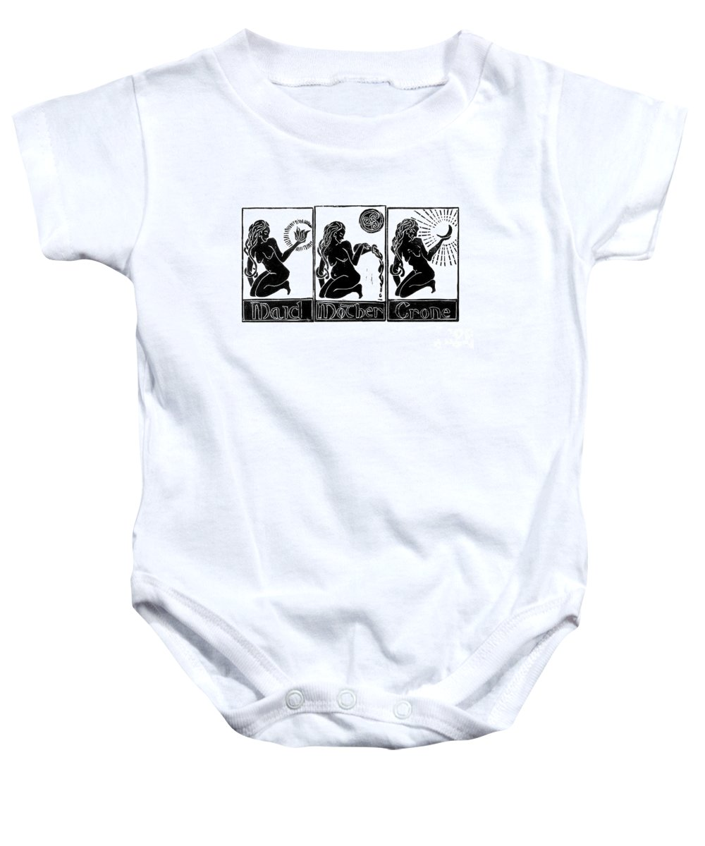 Linoleum Baby Onesie featuring the painting Maid, Mother, Crone by Lilith De' Anu