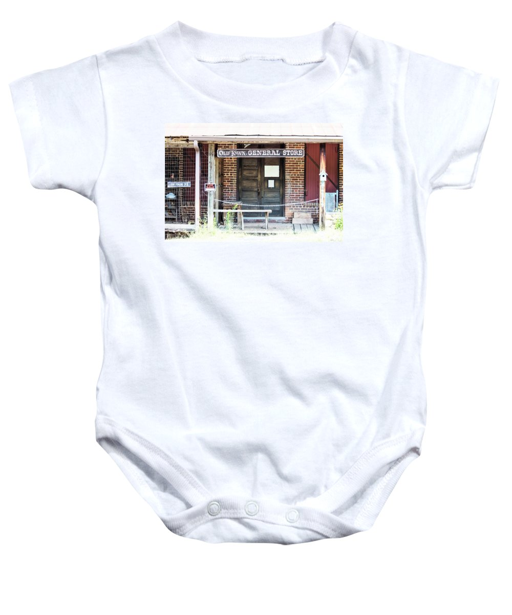 Old Town General Store Baby Onesie featuring the photograph Main Street For Sale by Mary Ann Artz