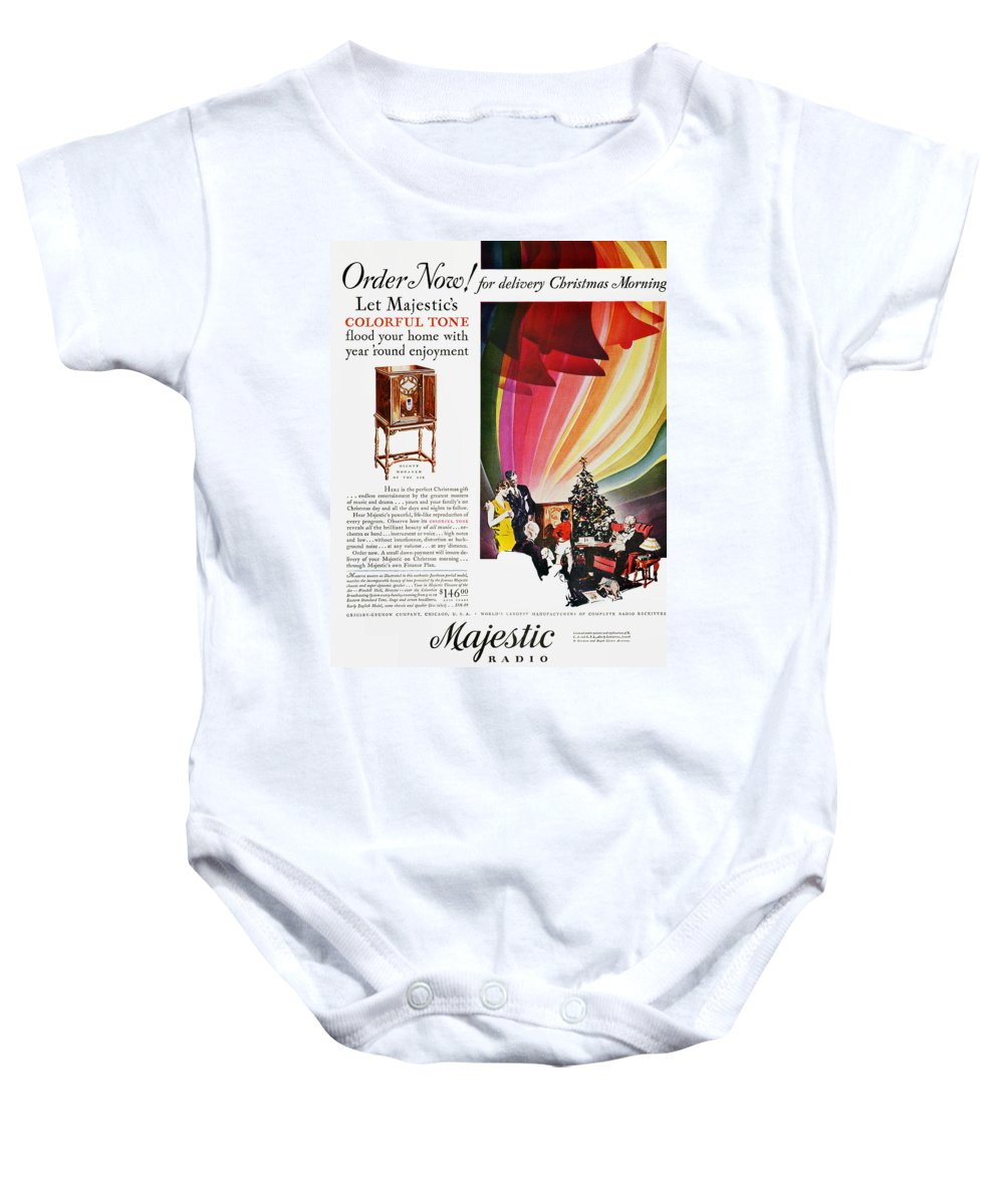 1929 Baby Onesie featuring the photograph Majestic Radio Ad, 1929 by Granger