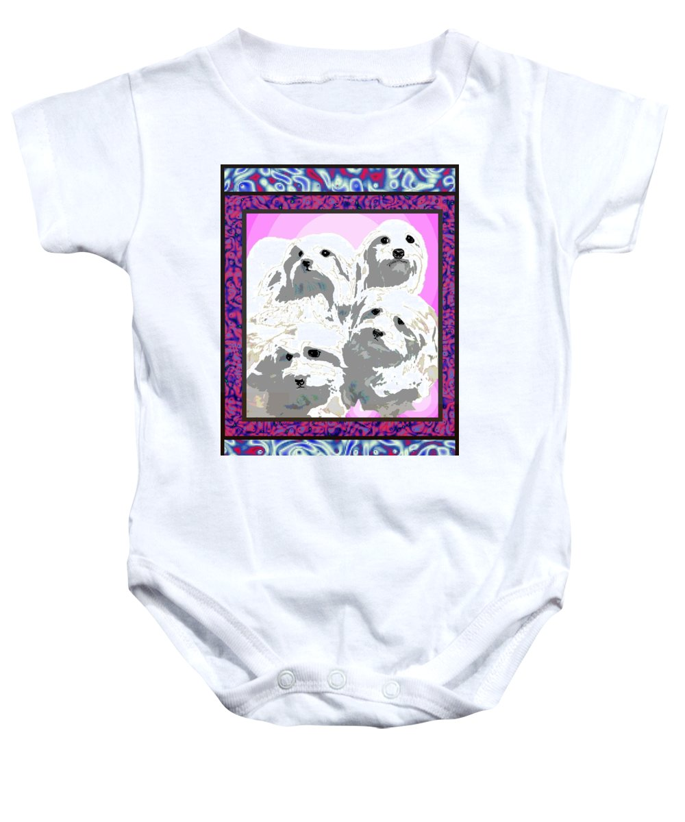 Maltese Group Baby Onesie featuring the digital art Maltese Group by Kathleen Sepulveda