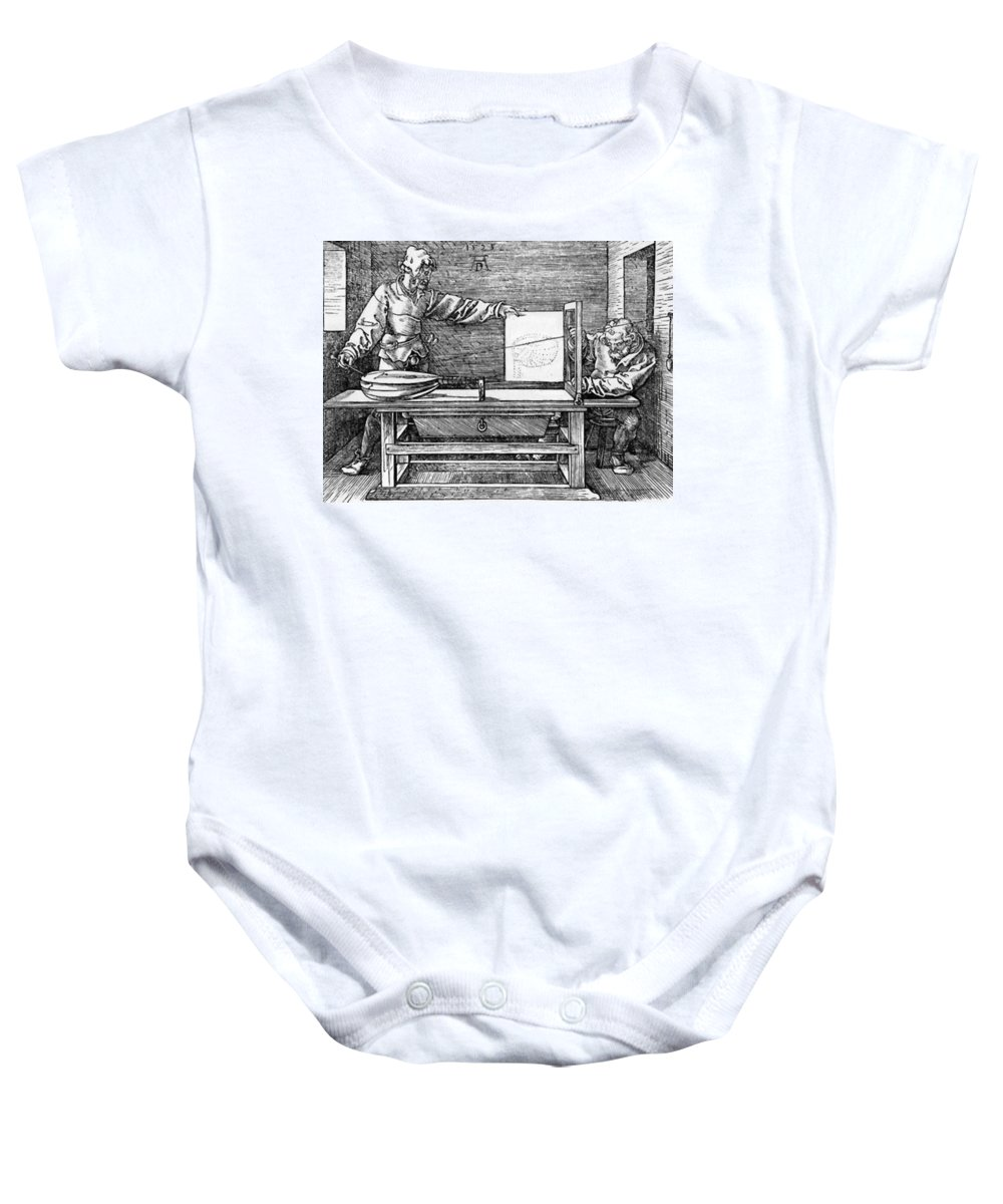 Man Baby Onesie featuring the painting Man Drawing A Lute 1523 by Durer Albrecht