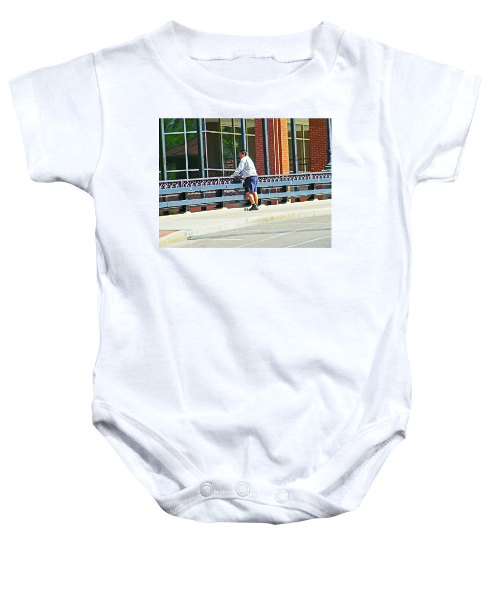 Abstract Baby Onesie featuring the photograph Man On The Bridge by Lenore Senior