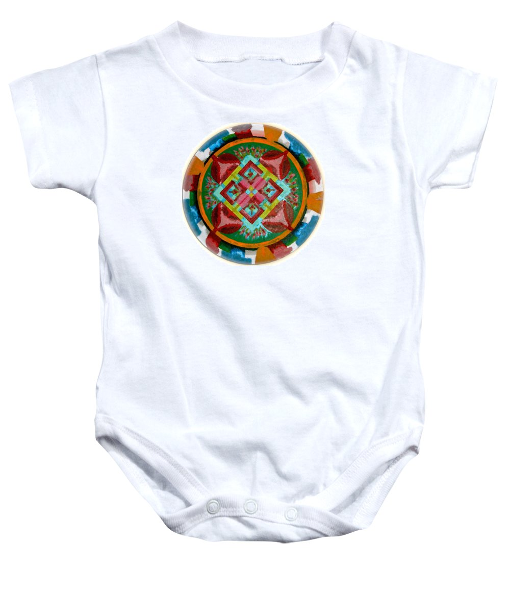 Mandala Baby Onesie featuring the painting Mandala - 2009 by Greice Lisandra Zagray
