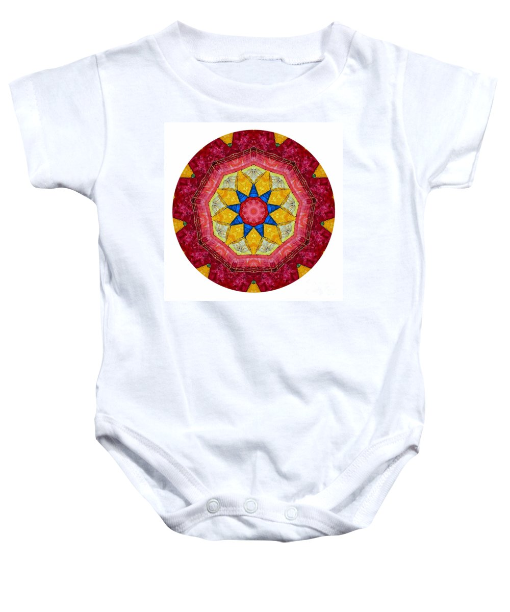 Talisman Baby Onesie featuring the digital art Mandala - Talisman 1404 by Marek Lutek