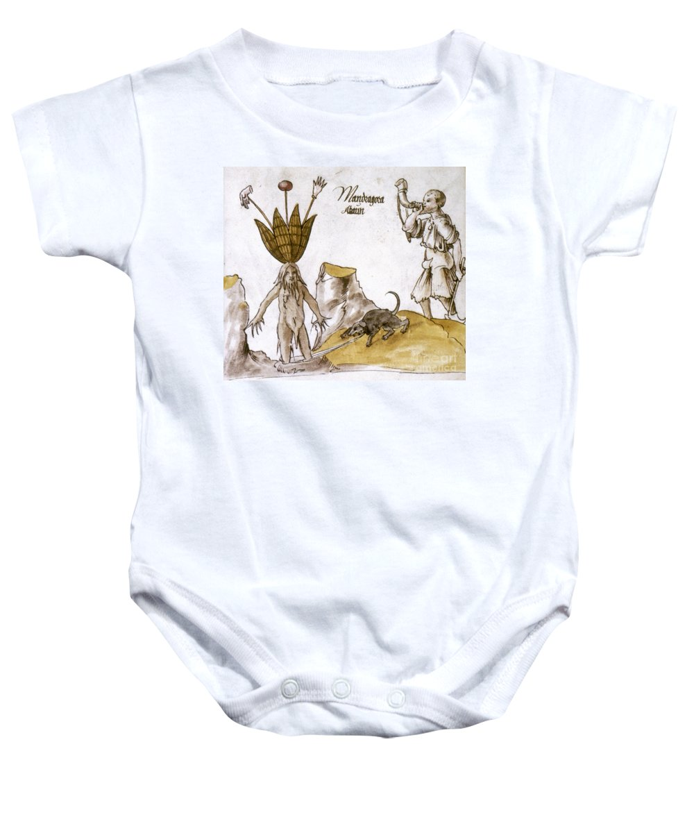 1500 Baby Onesie featuring the photograph Mandrake And Herbalist by Granger
