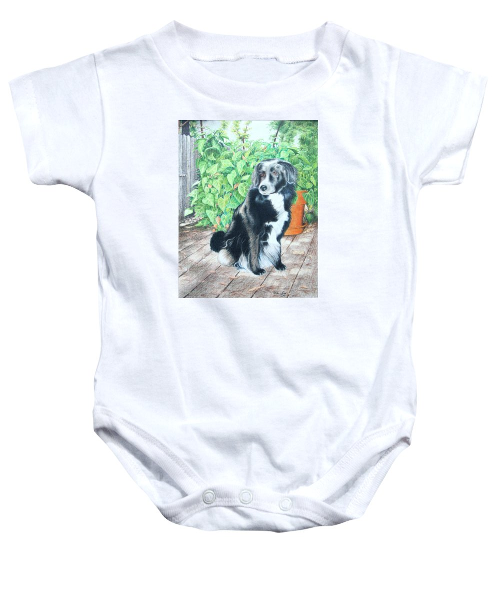 Dog Baby Onesie featuring the drawing Mandy by Mike Ivey