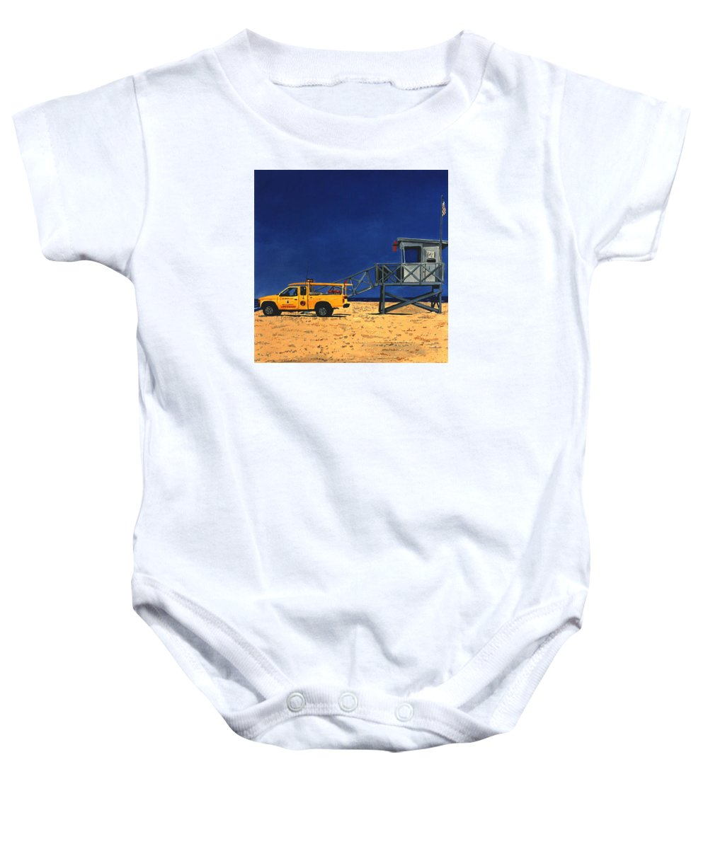 Modern Baby Onesie featuring the painting Manhattan Beach Lifeguard Station Side by Lance Headlee