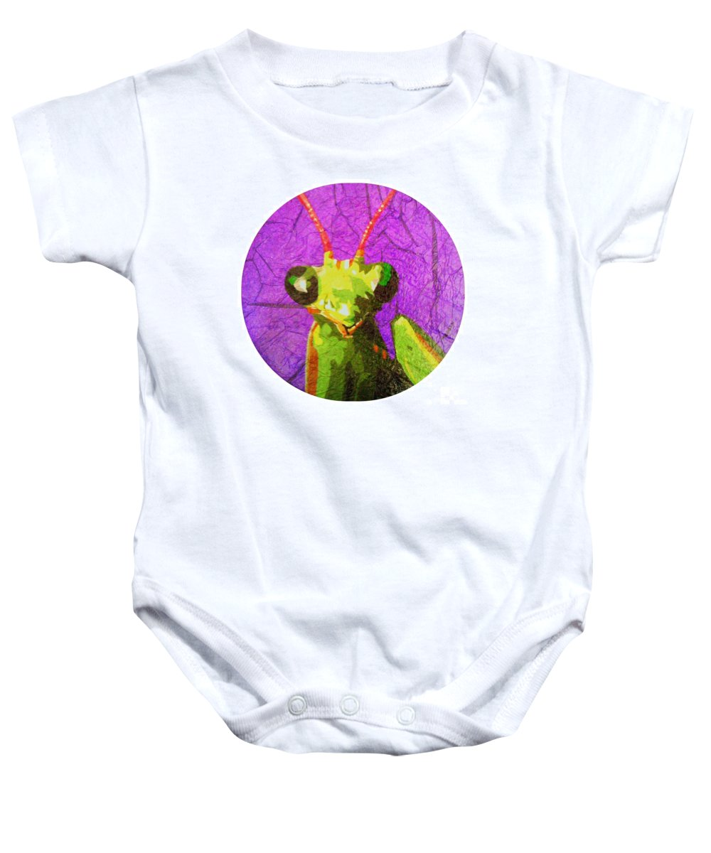 Mantis Baby Onesie featuring the painting Mantis Religiosa by Morgan Veissiere