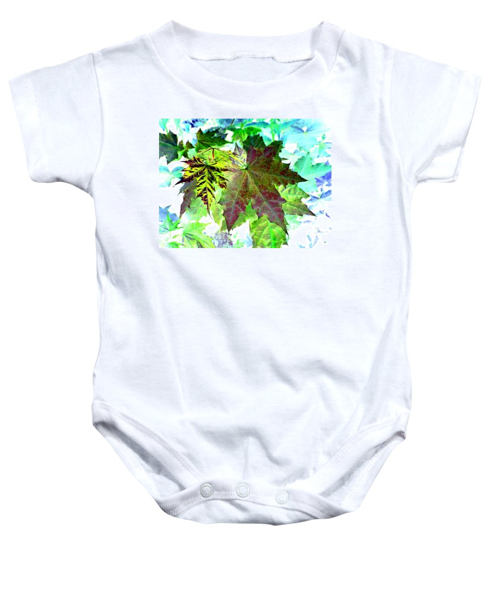 Maple Leaves Baby Onesie featuring the digital art Maple Mania 24 by Will Borden