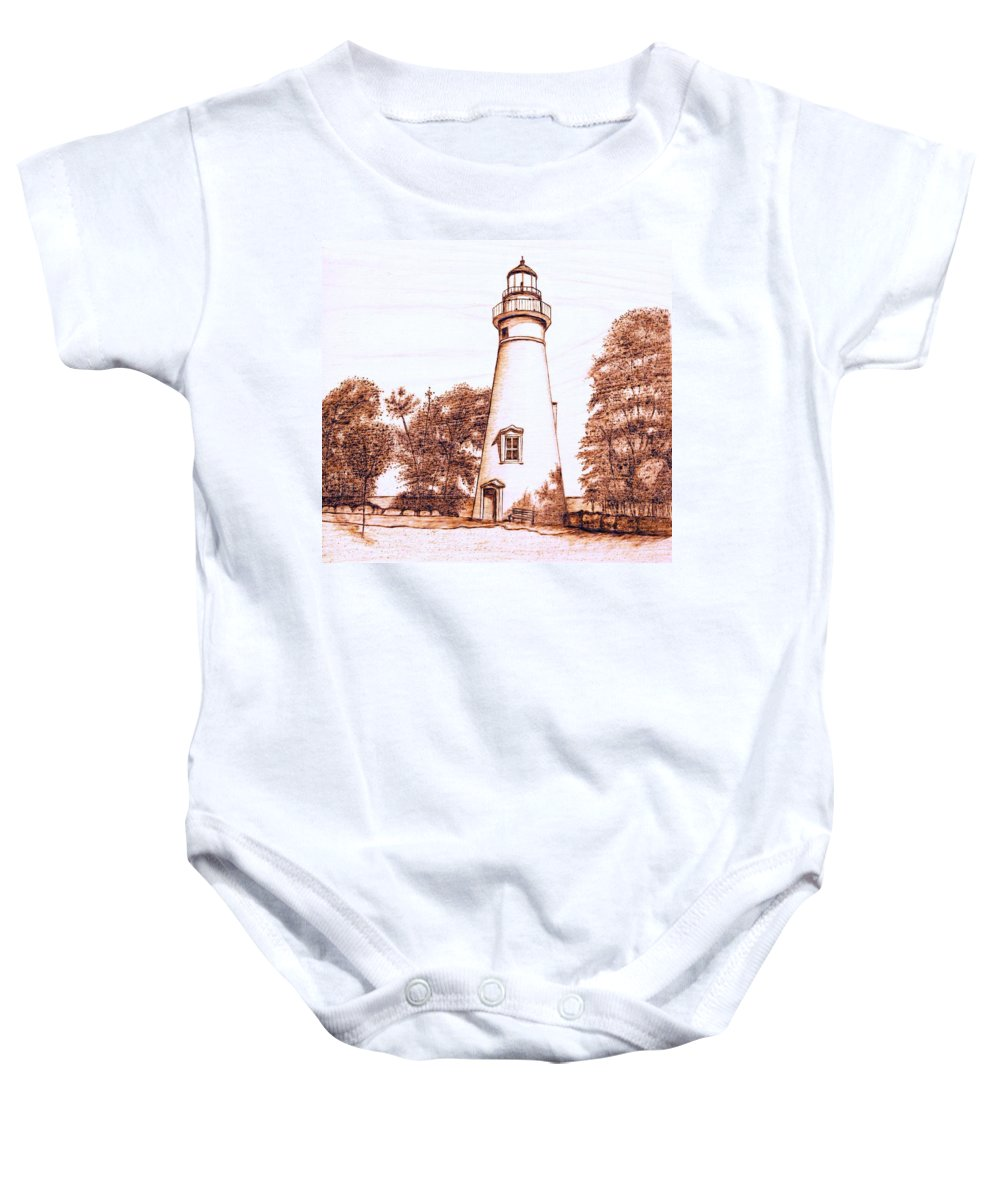 Lighthouse Baby Onesie featuring the pyrography Marblehead Lighthouse by Danette Smith