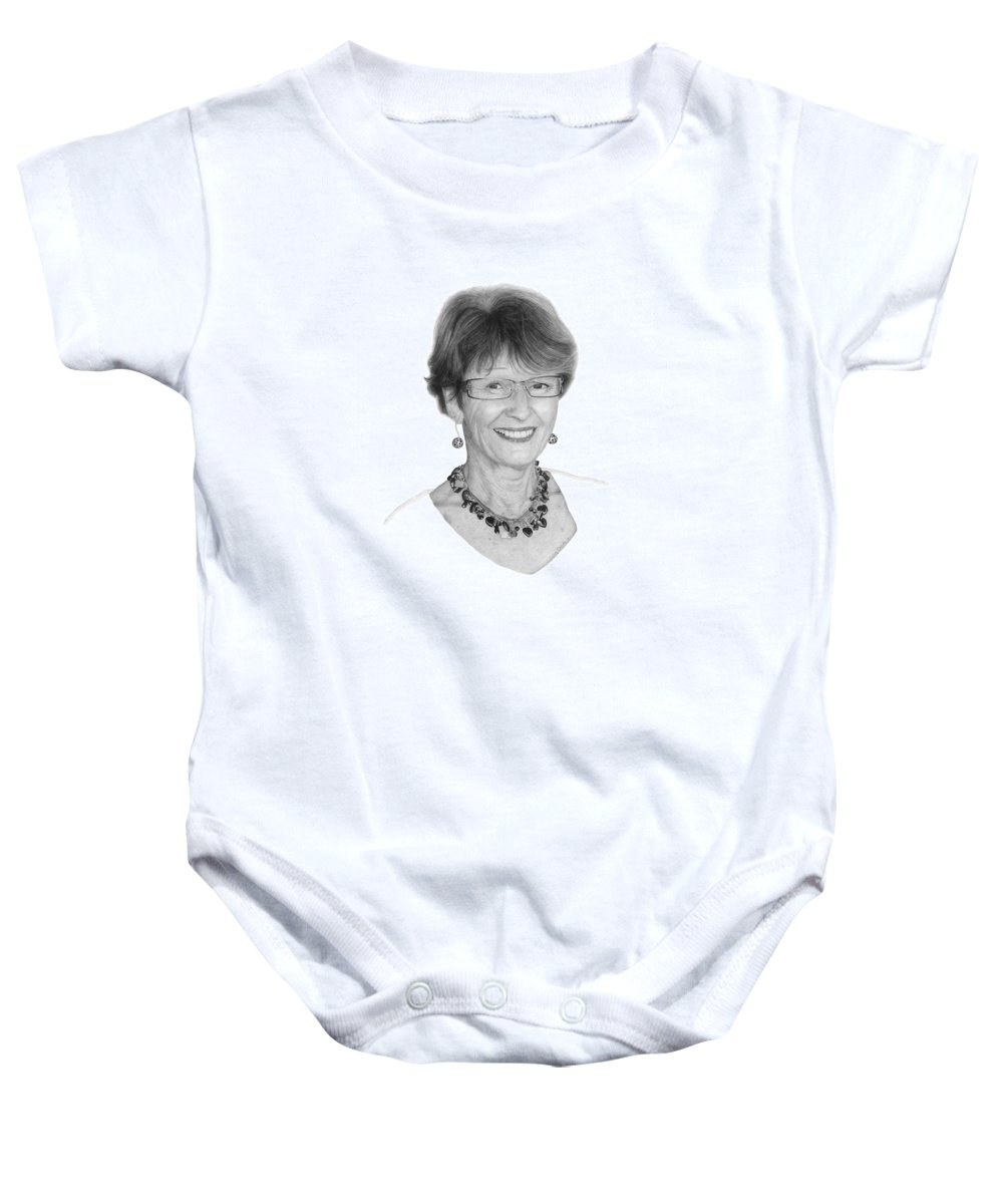 Portrait Baby Onesie featuring the drawing Margaret by Conrad Mieschke