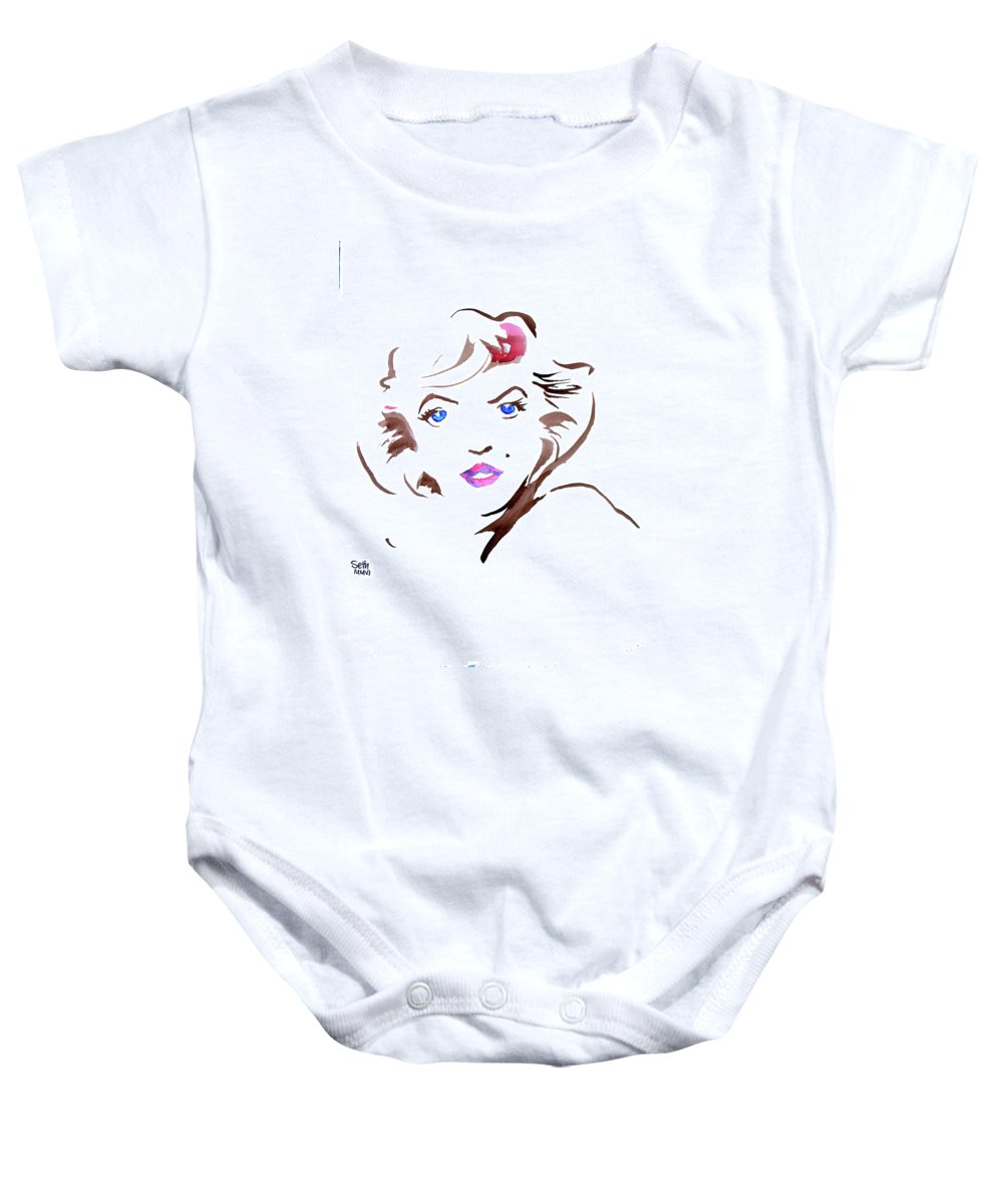 Marilyn Baby Onesie featuring the painting Marilyn by Seth Weaver