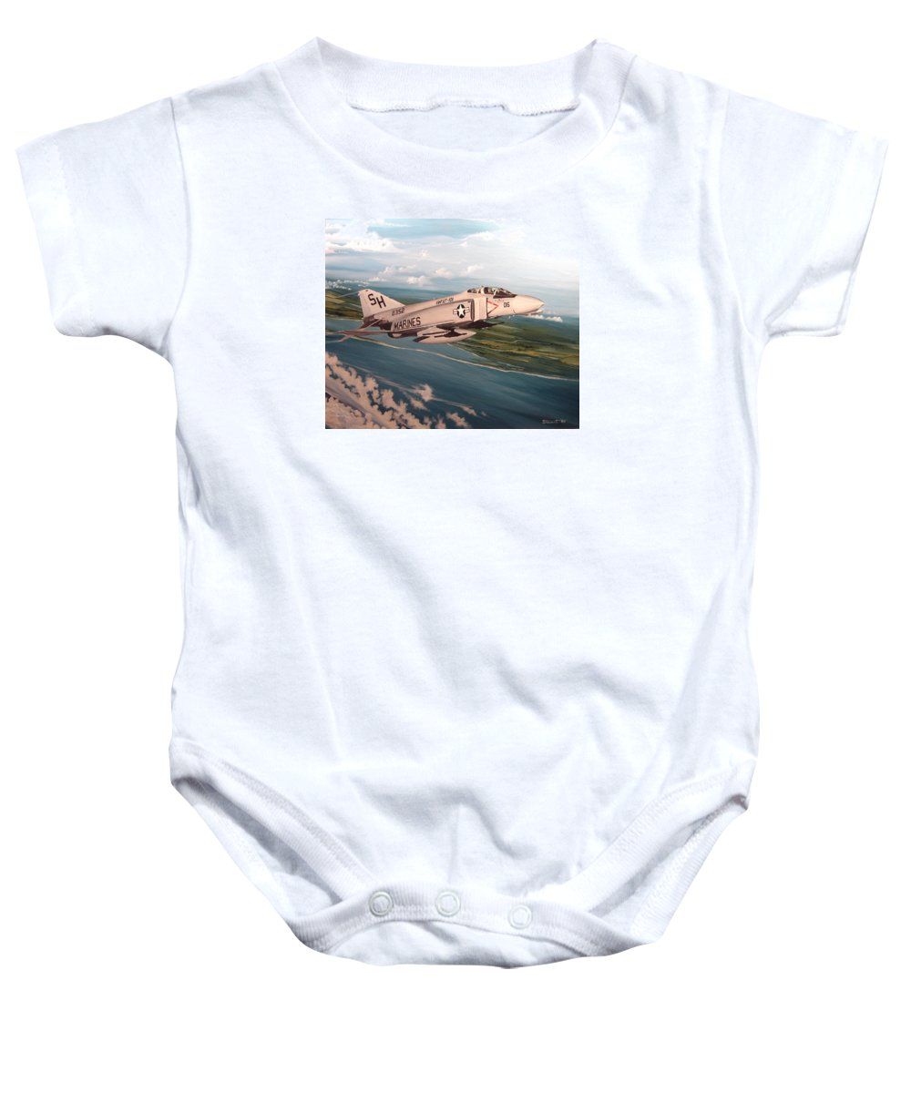 Aviation Baby Onesie featuring the painting Marine Phantom by Marc Stewart