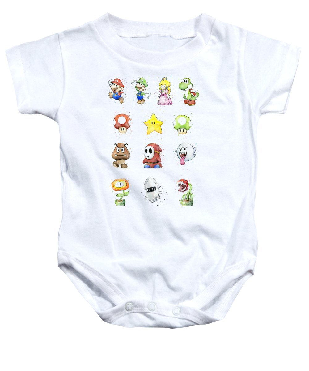 Mario Baby Onesie featuring the painting Mario Characters in Watercolor by Olga Shvartsur