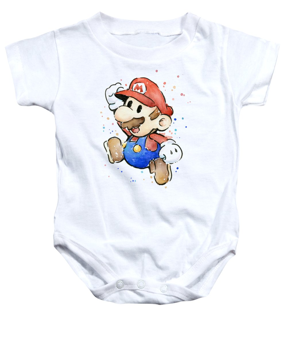 Mario Baby Onesie featuring the painting Mario Watercolor Fan Art by Olga Shvartsur