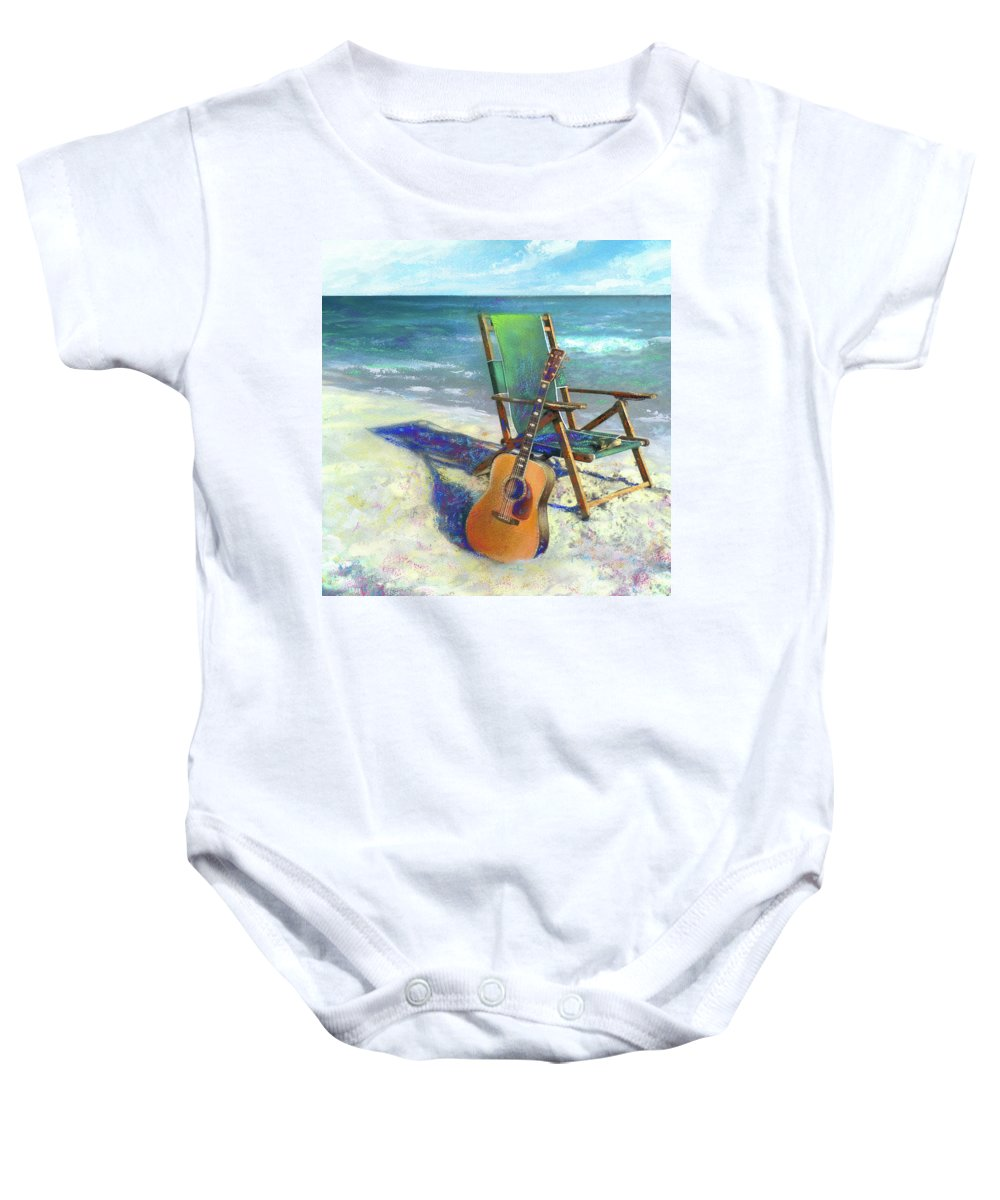 Guitar Baby Onesie featuring the painting Martin Goes To The Beach by Andrew King