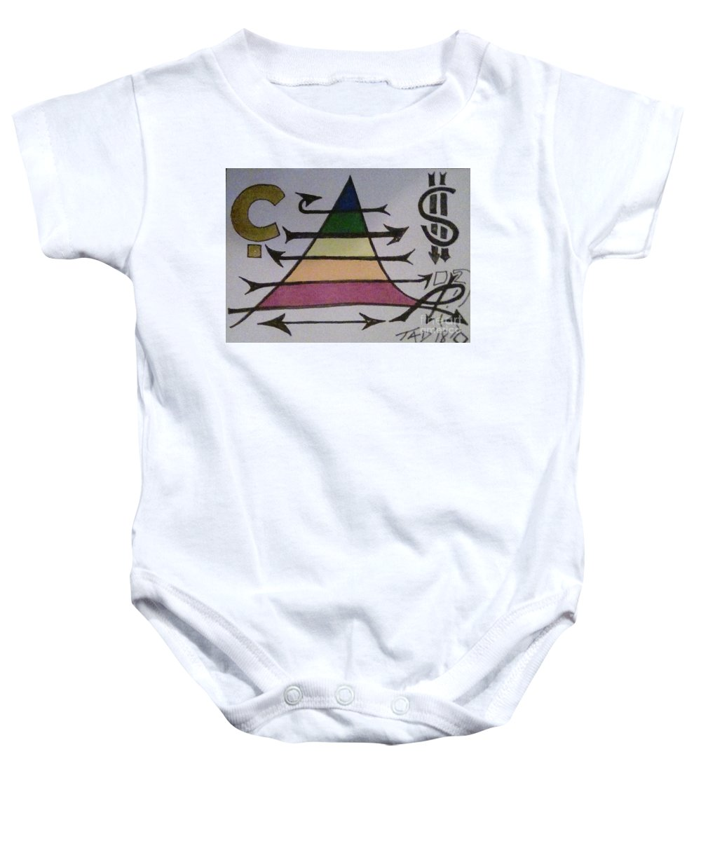 Maslow's Pyramid Baby Onesie featuring the painting Maslow Cents by Trevor Desrosiers