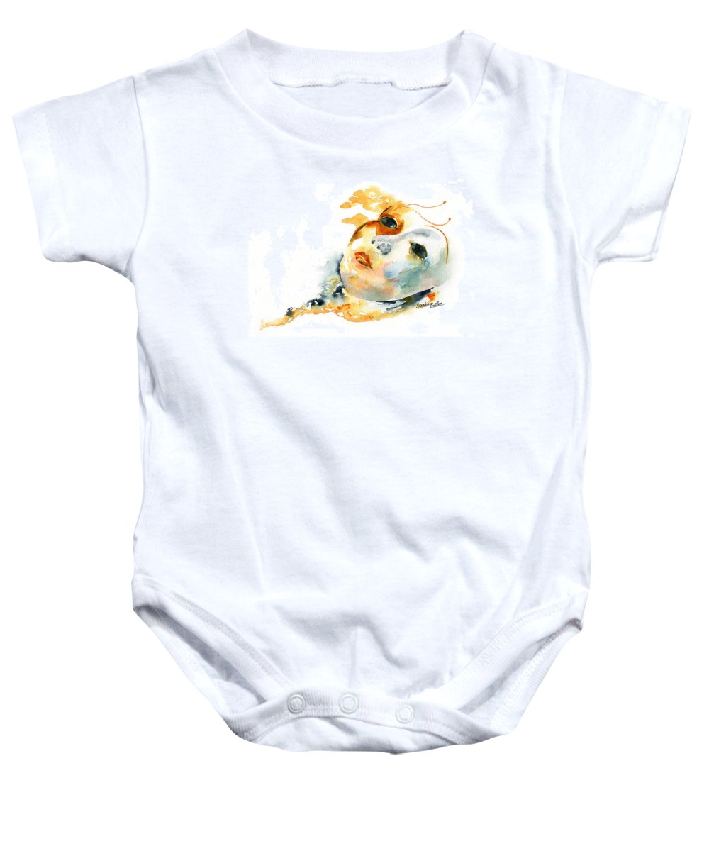 Stephie Butler Baby Onesie featuring the painting Masquerade by Stephie Butler
