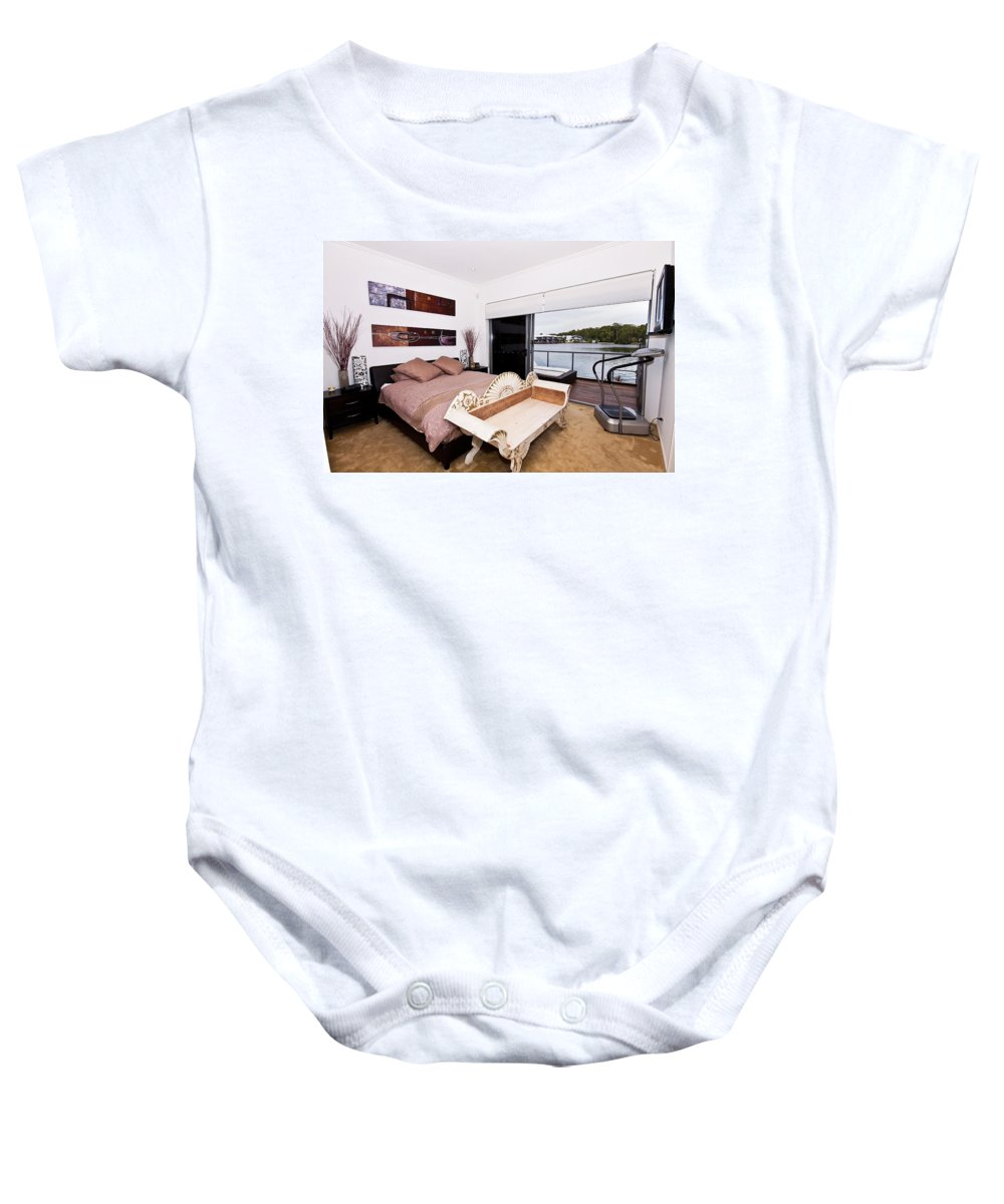Master Baby Onesie featuring the photograph Master Bedroom With A View by Darren Burton