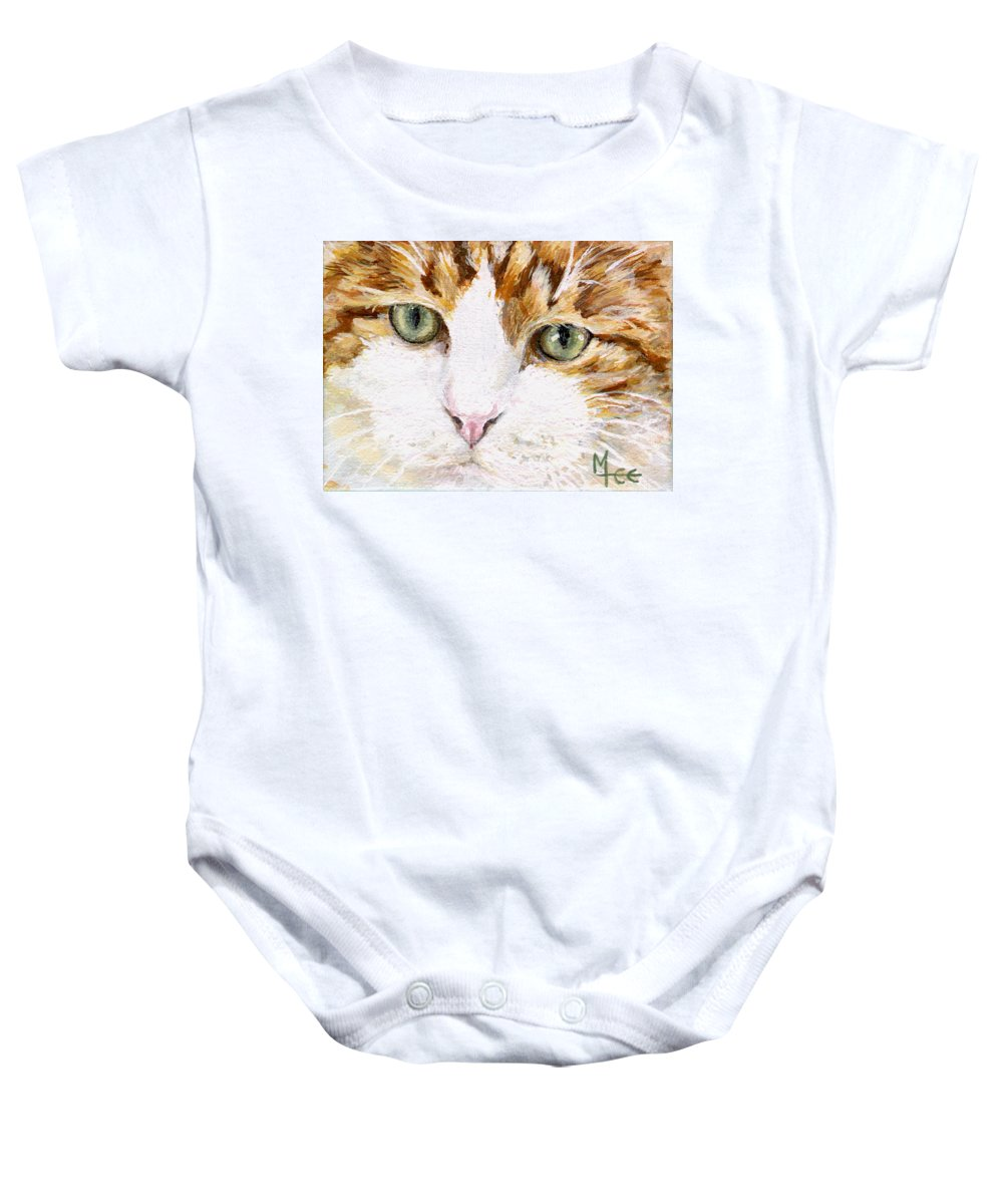 Charity Baby Onesie featuring the painting Max by Mary-Lee Sanders