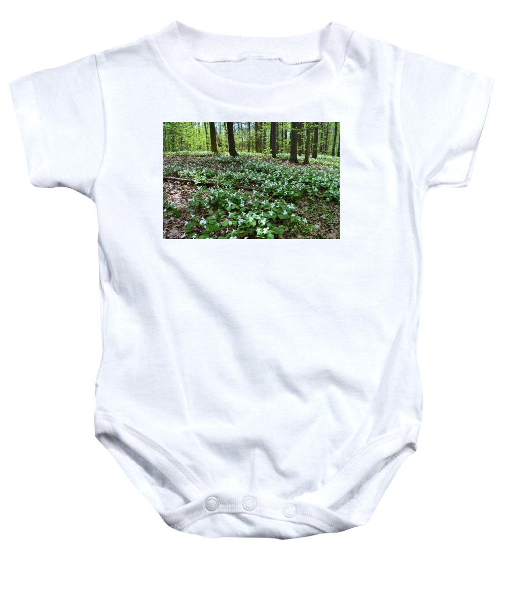 Abstract Baby Onesie featuring the photograph May 19-2017 At Sunnydale Park by Lyle Crump