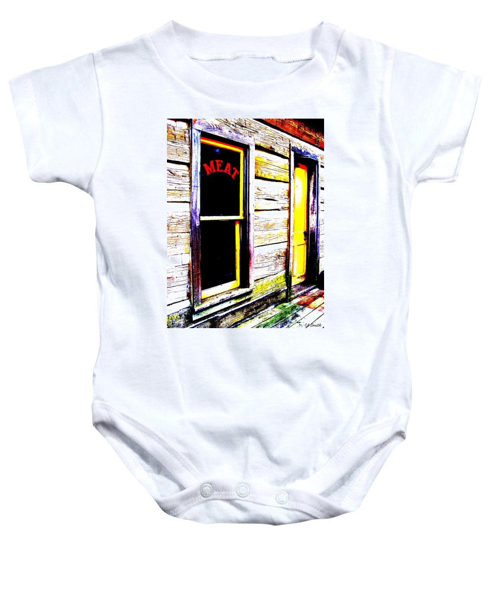 Meat Baby Onesie featuring the photograph Meat Market by Ed Smith