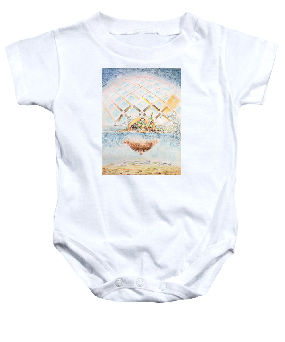 Watercolor Baby Onesie featuring the painting Meme Brain by Dave Martsolf