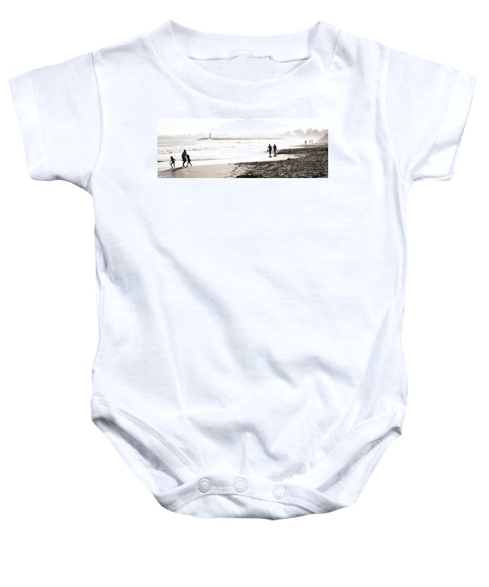 Men Baby Onesie featuring the photograph Men On Beach by Marilyn Hunt