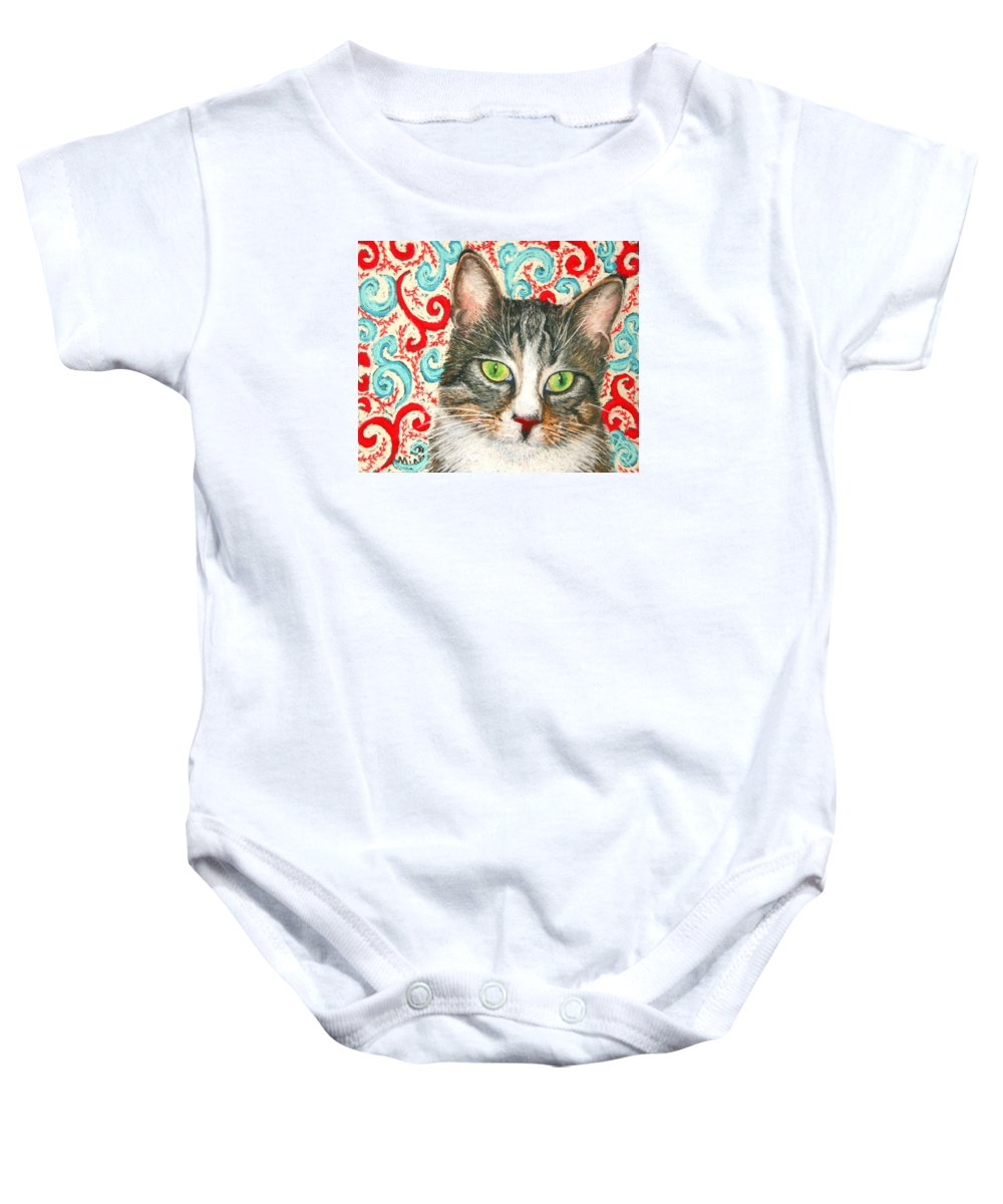 Cat Baby Onesie featuring the painting Meow Please... by Minaz Jantz
