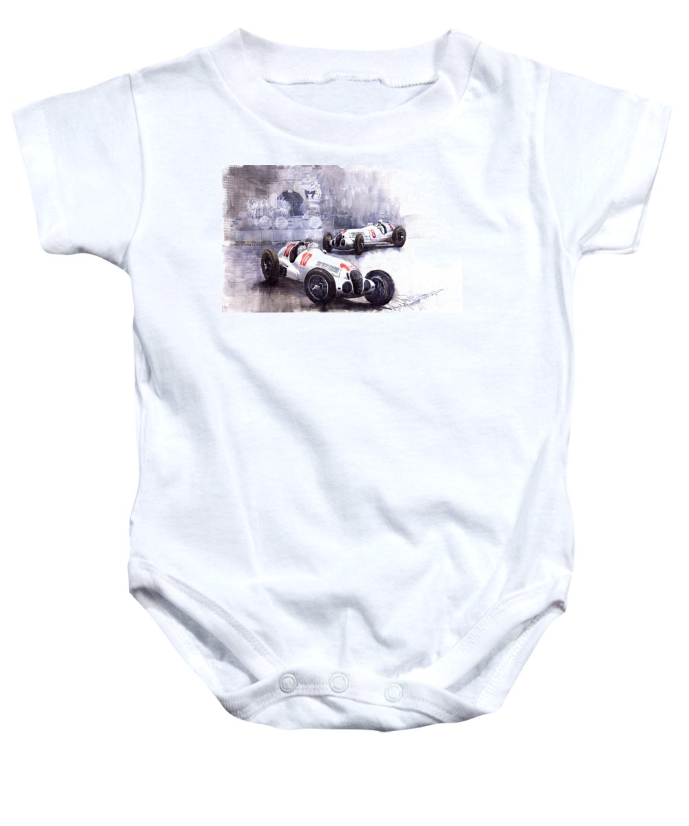 Watercolour Baby Onesie featuring the painting Mercedes Benz W 125 1938 by Yuriy Shevchuk