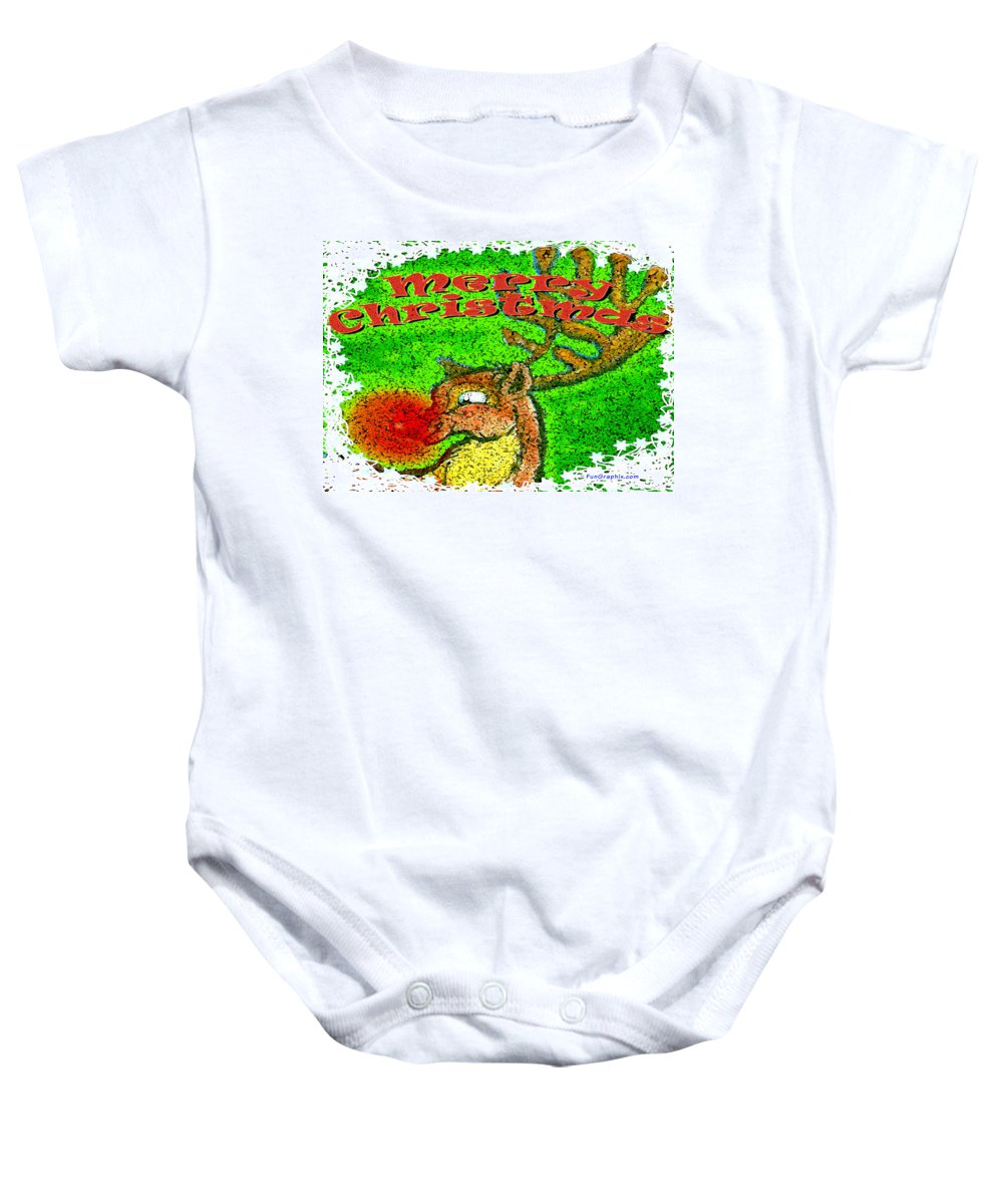 Merry Christmas Baby Onesie featuring the greeting card Merry Christmas Reindeer by Kevin Middleton