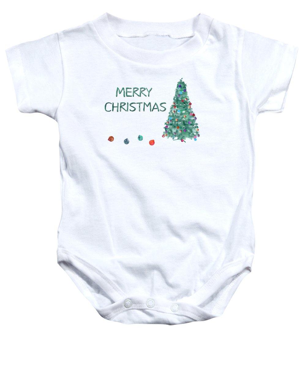 Christmas Tree Onesie.Merry Christmas Watercolor Tree Baby Onesie