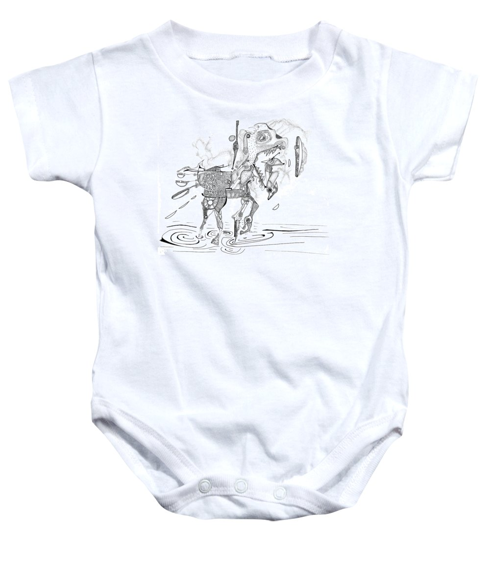 Carousel Baby Onesie featuring the drawing Merry-go-round Horse by Regina Valluzzi