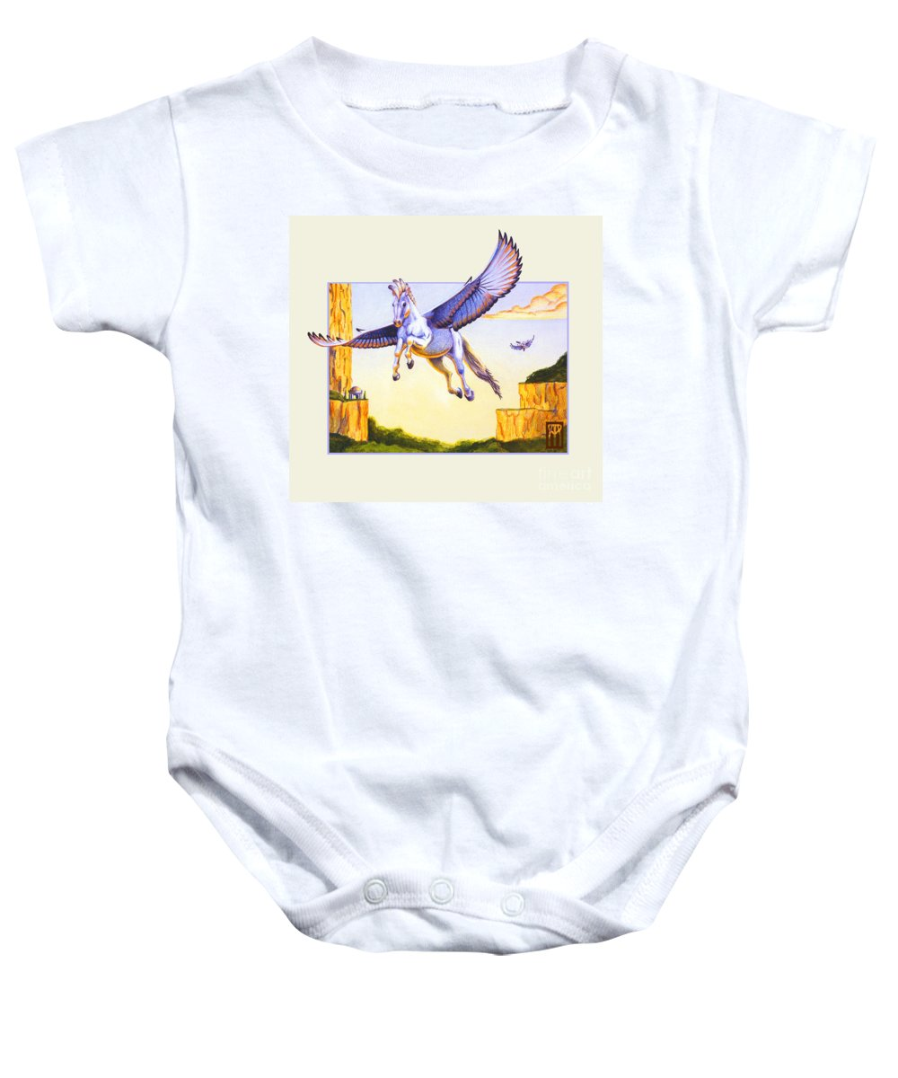 Pegasus Baby Onesie featuring the digital art Mesa Pegasus by Melissa A Benson